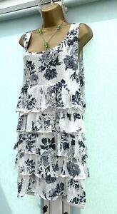 NEW PER UNA SPEZIALE NAVY & WHITE FLORAL RUFFLE LAYERED TUNIC MINI DRESS SIZE 20