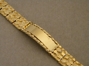 Men's Large Yellow Gold Plated Nugget Link Smooth ID Bracelet 9in Long 14mm Wide