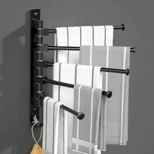 Bathroom Towels Rack Kitchen Towel Holder 180 Rotation Waterproof Bar Wall Mount