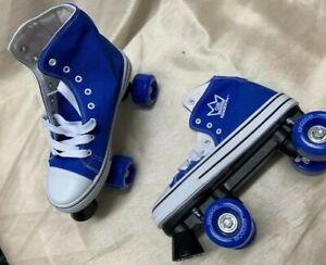 Kingdom GB Canvas HI-PE Roller Skates Blue/White Size 6. New