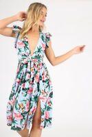 Tropical Print Plunge Neck Double Split Midi Dress RRP £42.99