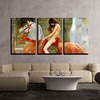 "Wall26 - Lady Godiva by John Collier Giclee - Canvas Wall Art - 24""x36""x3 Panels"