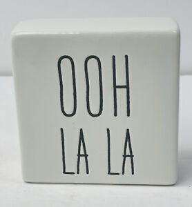 "OHH LA LA White and Black Ceramic Sign Tabletop Decor4""X4x"""