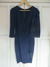 FRENCH CONNECTION NAVY BLUE CROSSOVER JERSEY PENCIL  DRESS SIZE 10 BOHO