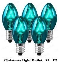 25 C7 Teal Transparent Replacement Bulbs Xmas Lights