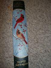 "HOME DECORATIVE WALL PLAQUE RED BIRDS SNOW 22"" LONG 4 1/2"" WIDE WINTER DECOR"