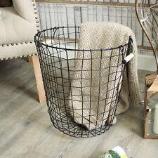 Almacenamiento de cesta de alambre de metal negro papel de desecho bin lavandería cesta de Pino Mango Home