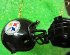 NORA WINN UNIQUE BIG 925 EARRINGS NFL FOOTBALL HELMET RIDDELL Pittsburgh Steeler