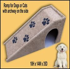 Pet Ramp with Paw prints and opening on the side. Dog Ramp 18Hx14Wx35D