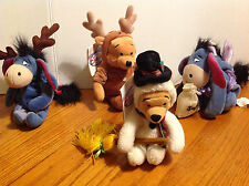 DISNEY STORE NEW WINNIE THE POOH CHRISTMAS PLUSH BEANIE LOT OF 4 BEAN PLUSH