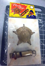 1960s Police Badge & Whistle toy, made in Hong Kong still in Cellophane Wrapper
