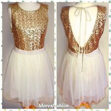 ✨👑LIPSY Gold Sequin Cream Satin Mesh TUTU Net Skirt Dress UK 12 EU40 US8 FAST📮