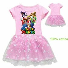2019Gift Cartoon Super mario Luigi Kid Girl Short Sleeve Skirt Party Beach Dress
