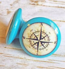 "4 Handmade Nautical Knobs, 1.5"" Island Blue Drawer Pulls, Antique Style Compass"
