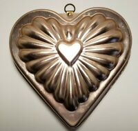 Light Copper Colored Aluminum Heart Shaped Jello or Cake Mold Wall Art Vintage