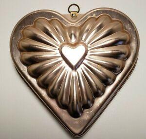 Light Copper Colored Aluminum Heart Shaped Jello or Cake Mold Wall Art Vintage