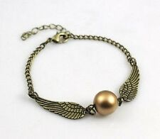Harry Potter Bronze Tone Golden Snitch ball Angel Wings charm bracelet