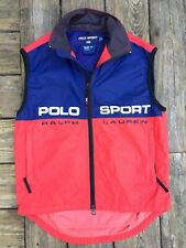 VTG Rare Ralph Lauren RLX Polo Sport Spell Out Red White Blue Cycling Vest Sz S