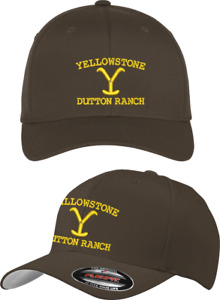 Yellowstone Logo Dutton Ranch Montana Kevin Costner Flexfit® Brown Cap L/XL
