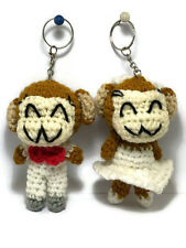 2 pc Cute Monkey Yarn Doll handmade Voodoo Doll Wedding couple Keychain Craft