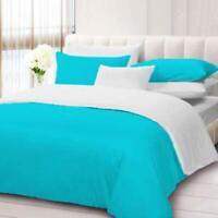 Turquoise & White 1000 TC New Egyptian Cotton Reversible Duvet Set US Sizes