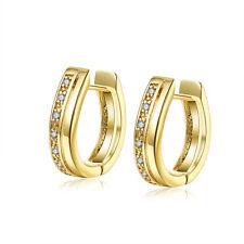 "18K Gold Plated Earrings Huggie Hoop AAA Zirconia Leverback 0.2"" L203"
