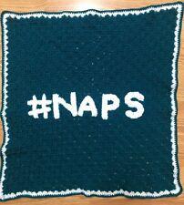 NEW Hand crocheT baby blanket/lap afghan-BOY/GIRL ZZZ #NAPS NAP TEAL SHOWER GIFT