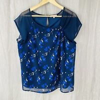 PER UNA Navy Blue Multi Floral SIZE 16 UK Short Sheer Sleeves Lined Top WO1