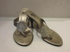 WOMENS YELLOW BOX SILVER LEATHER WEDGE SANDALS W/BEJEWELS SIZE 7.5