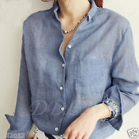 Fashion Women Casual V-Neck Long Sleeve T Shirt Summer Loose Top Blouse Cotton
