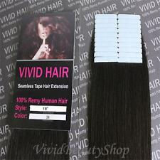 20pcs 18 inches Remy Seamless Tape Skin Weft Human Hair Extensions Dark Brown #2