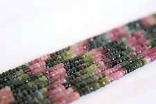 "Watermelon Tourmaline Beads Full Strand 13.5"" 2x3mm Faceted Rondelle USA SELLER"
