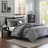 NEW! ~ CLASSIC COZY BLACK GREY RED WHITE CABIN LODGE PLAID SOFT COMFORTER SET