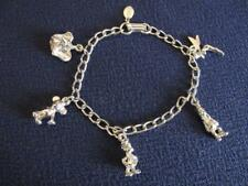 DISNEY Charm Bracelet silvertone MICKEY DAFFY TINKER BELL DUMBO GOOFY