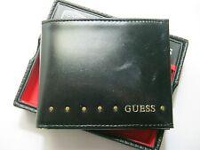 Guess Men's Leather Wallet Double Billfold 0091-0462 BLACK/BRASS NEW NIB