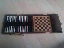 Vintage Chess/Backgammon/Checkers Travel Game Box Set Brown Velvet/Wood/Plastic