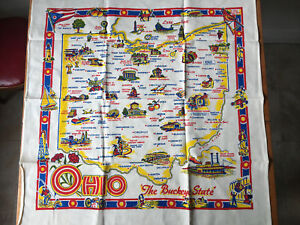 Vintage Unused Ohio The Buckeye State souvenir tablecloth linen Mint Condition