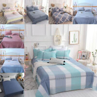 Queen King Size Flat Bed Sheet Cotton Bedspread Soft Bedding Pillowcase Plaid