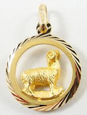 "18K Yellow Gold Aries Ram Pendant Zodiac Star Sign Jewelry 1"" Long"