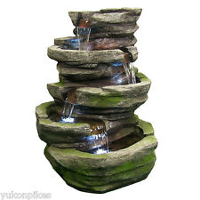 Lighted Cobblestone Outdoor Electric Garden Water Fountain with Led Lights