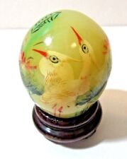 Two Cranes Bird Hand Painted Gemstone Egg Wood Stand Miniature Collectible