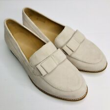 ZIERA Size US 7.5XF 38.5XF Beige Suede Leather 'Talise' Slip On Flat Loafers