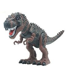 Kids Toy Walking Brown Dinosaur T-Rex Action Figure Lights Sounds Real Movement