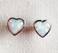 Beautiful Platinum Plated White Fire Opal Heart Shaped Stud Earrings