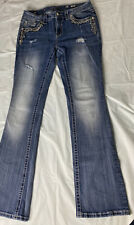 MISS ME WOMEN'S EMBELLISHED MID-RISE EASY BOOT FAUX FLAP POCKET JEANS SIZE 30