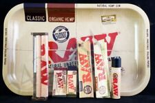 RAW SMOKING PAPER BUNDLE WITH TIPS, SMALL TRAY & CLIPPER LIGHTER