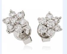 Diamond Daisy Earrings Brilliant Cut 0.25ct F VS Solid White Gold Pierced Studs