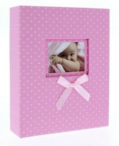 "Pink Slip In Photo Album 200 6"" x 4"" Photos Baby Girl Keepsake Birthday Gift"