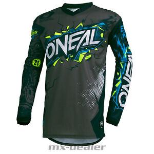 2021 O'Neal Élément Enfants Jersey Villain Gris Tricot MX MTB BMX Motocross