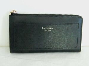 NWT KATE SPADE NEW YORK EVA BLACK/WRBG l ZIP CONTINENTAL WALLET WLRU5361